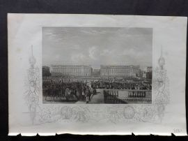 Tallis (Pub) 1854 Antique Print. Entry of The Allies into Paris, 1815